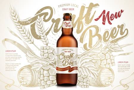 Craft beer ads design template vector illustration