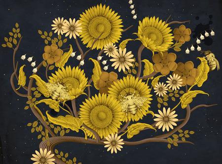 꿀벌과 꽃 벡터 일러스트 레이 션