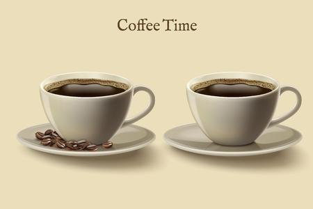 Schwarzer Kaffee in Tassen Vektor-Illustration Standard-Bild - 95525994