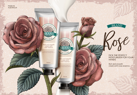 Rose hand cream ads design vector illustration Stock Illustratie