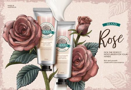 Rose hand cream ads design vector illustration Illustration