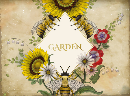 Honey bees and flowers vector illustration Stok Fotoğraf - 95525999