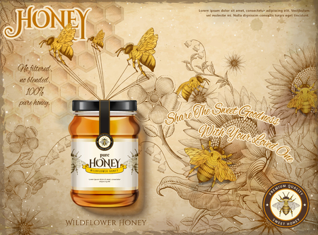 Wildflower honey ads design vector illustration