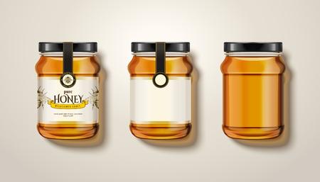 Pure honey jar mock ups vector illustration