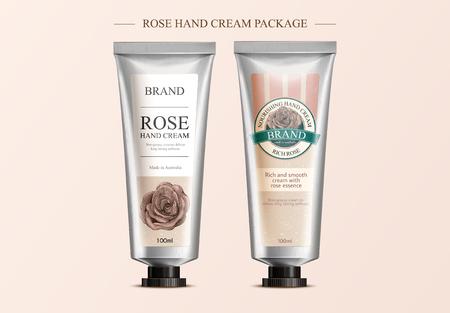 Rose hand cream mock ups vector illustration Illustration