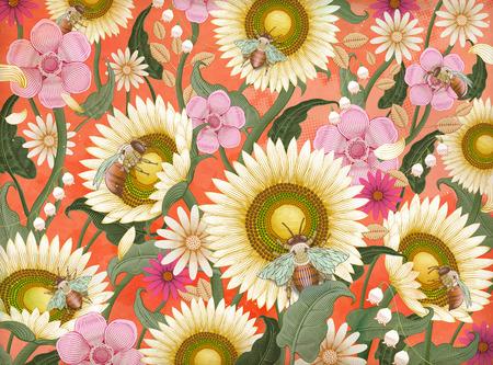 ミツバチと花の背景