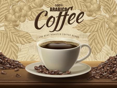Arabica koffie advertenties ontwerpen vectorillustratie