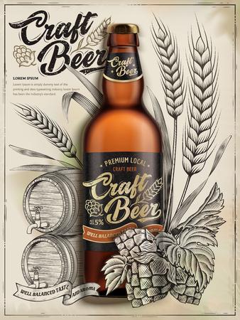 Craft beer ads design vector illustration Illustration