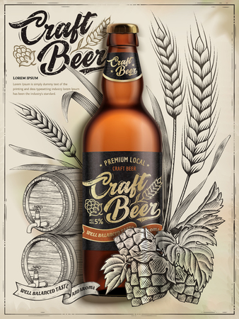 Craft beer ads design vector illustration Vectores