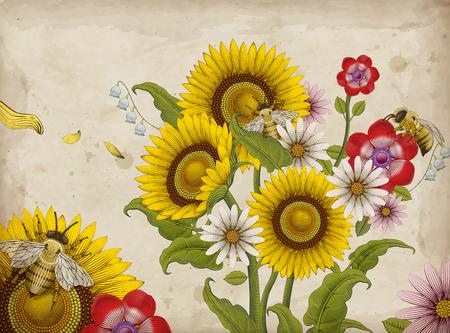 ミツバチと野生の花のベクターイラスト