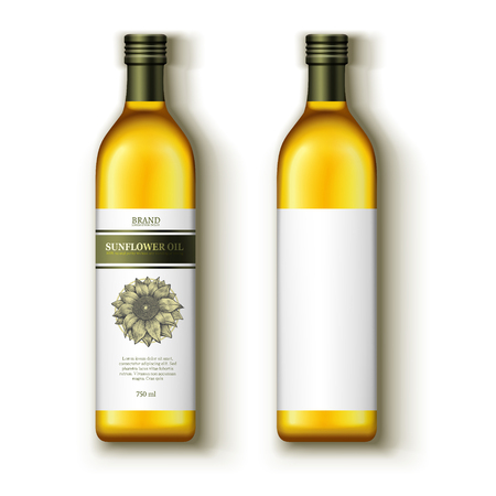 Sunflower oil mock ups vector illustration