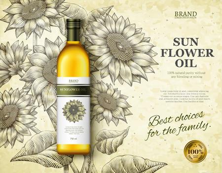De advertenties van de zonnebloemolie ontwerpen vectorillustratie Stock Illustratie