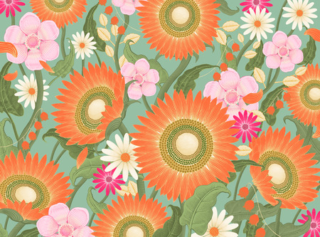 Decorative flowers background Ilustração