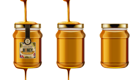 Pure honey jar mock ups vector illustration