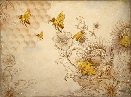 Honey bees and wildflowers, retro hand drawn etching shading style design elements, beige background Фото со стока - 95737870