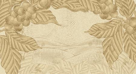 Fond de plantes de café rétro, plantes avec paysage de terrain dans l'ombrage de la gravure et le style de dessin à l'encre