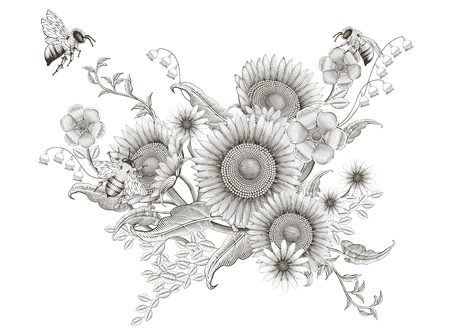 Retro elegant floral design, etching shading sunflowers and bees design on white background Stok Fotoğraf - 95737875