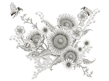 Retro elegantes Blumenmuster, Ätzschattierungssonnenblumen und Bienen entwerfen auf weißem Hintergrund Vektorgrafik