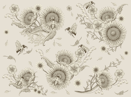 Honey bees and flowers elements, retro hand drawn etching shading style, beige background