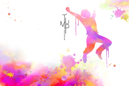 Watercolor jump man, man in victory pose with watercolor paint strokes Reklamní fotografie - 95457899