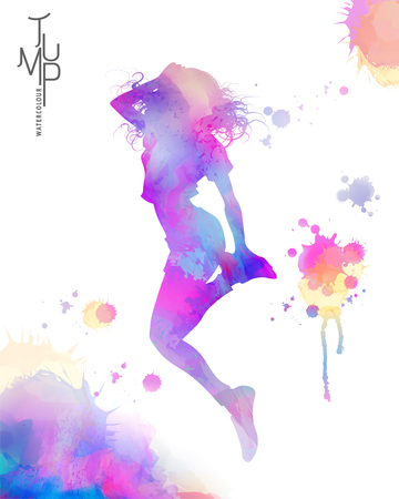 Watercolor jump girl, energetic woman jumping high in the air in watercolor and paint strokes Standard-Bild - 95737881