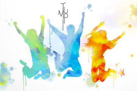 Watercolor jumping people, young boys and girls in victory pose with watercolor paint strokes Ilustração