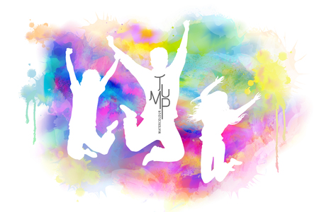 Watercolor jumping people, young boys and girls in victory pose with watercolor paint strokes Çizim