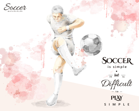 Watercolor soccer player, young man kicking a ball in elegant splash paint brush stroke style