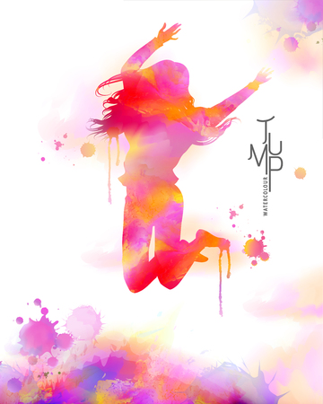 Watercolor jump girl, energetic woman jumping high in the air in watercolor and paint strokes
