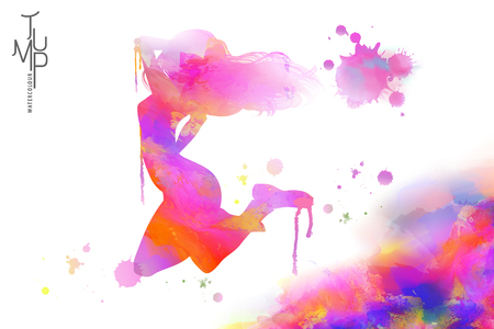 Watercolor jump girl, energetic woman jumping high in the air in watercolor and paint strokes Banque d'images - 95457904