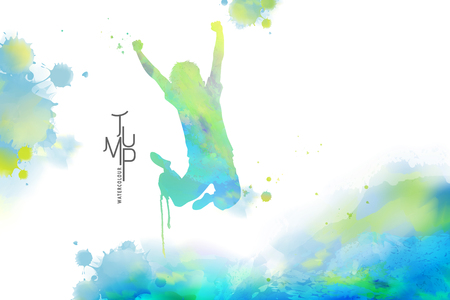 Watercolor jump man, man in victory pose with watercolor paint strokes