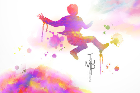 Watercolor jump man, man in flying position with watercolor paint strokes Illustration