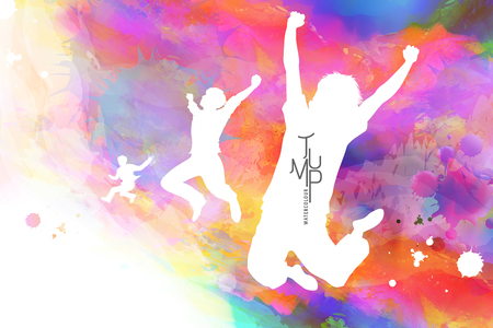 Aquarel jump man, man in overwinning pose met aquarel verfstreken