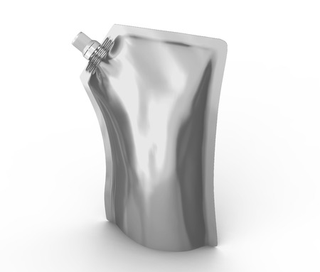 Detergent refill package, 3d render silver stand-up pouch bag mockup with cap