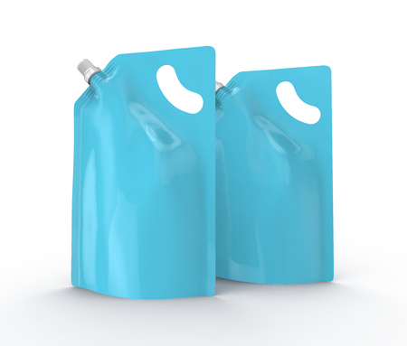 Detergent refill package, 3d render light blue stand-up pouch bag mockup set with cap