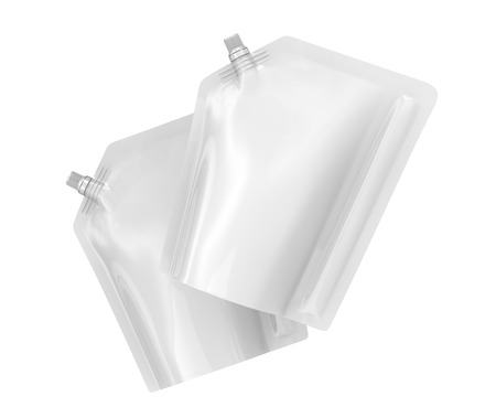 Detergent refill package, 3d render pouch bag mockup set with lid floating in the air