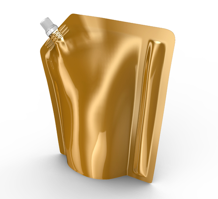 Detergent refill package, 3d render champagne gold stand-up pouch bag mockup with cap