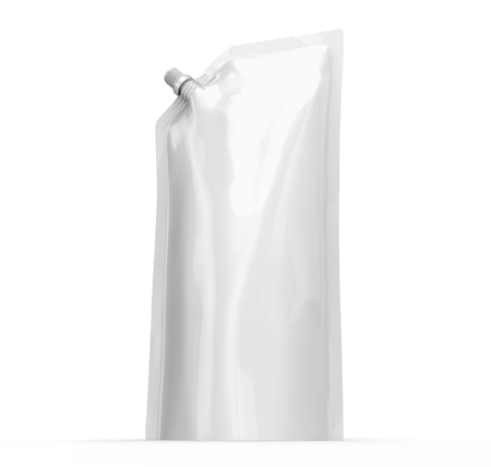 Detergent refill package, 3d render tall stand-up pouch bag mockup with lid