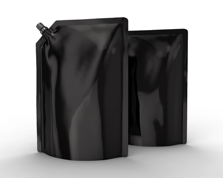洗剤リフィルパッケージ、3Dレンダーブラックスタンドアップポーチバッグモックアップキャップ付き