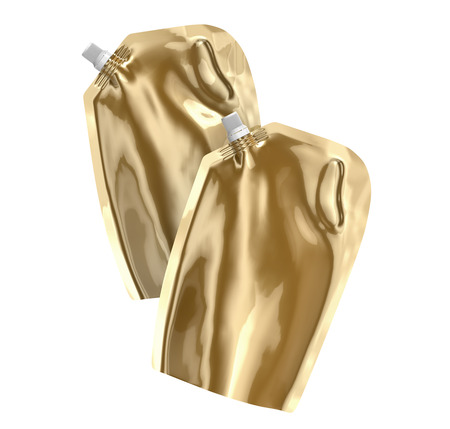 Detergent refill package, 3d render champagne gold stand-up pouch bag mockup set with cap floating in the air Stock Photo