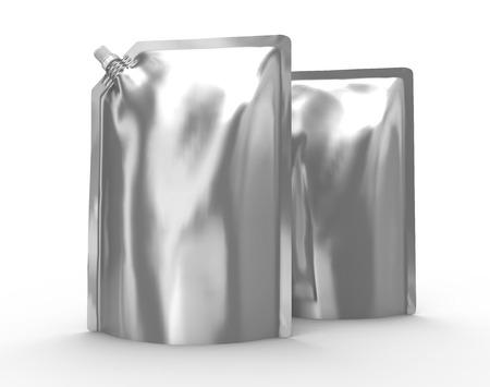 洗剤リフィルパッケージ、キャップ付き3Dレンダーシルバースタンドアップポーチバッグモックアップセット 写真素材