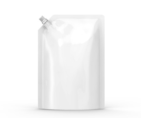 Detergent refill package, 3d render stand-up pouch bag mockup with lid