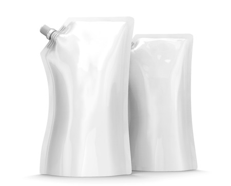 Detergent refill package, 3d render stand-up pouch bag mockup set with lid Stock Photo