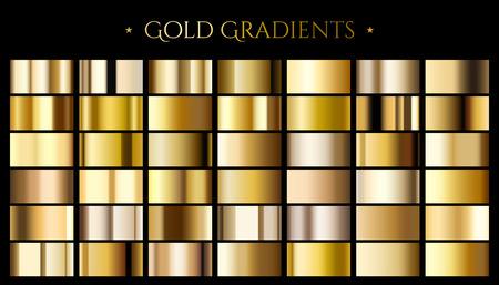 ゴールドカラーグラデーション、3Dイラストでデザイン用の抽象的な金属反射テクスチャのセット