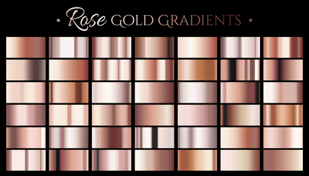 Rose gold color gradient, set of abstract metallic reflective texture for design uses in 3d illustration