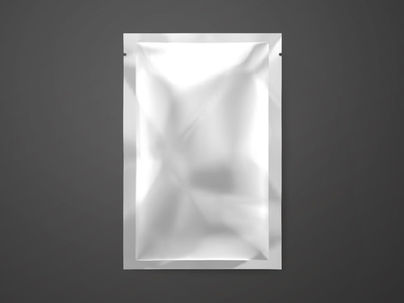 Facial mask package template, blank silver package mockup for design uses in 3d illustration