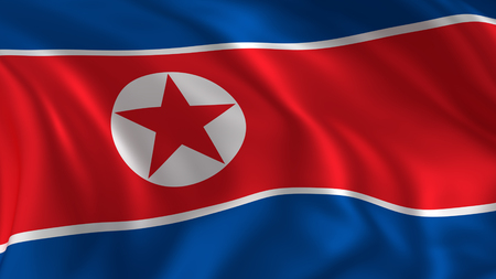 North korea flag, closeup look at waving national flag in 3d rendering