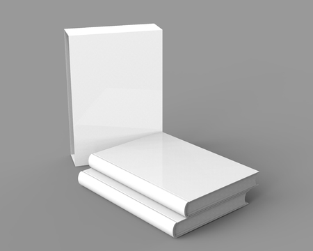 Blank book with cardboard box cover, books and case in 3d render