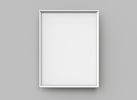 White picture frame, 3d render thin frame with empty space for decorative uses