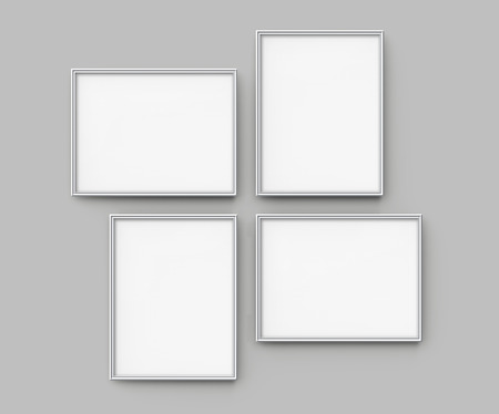 Grey picture frame, 3d render thin frames collection with empty space for decorative uses